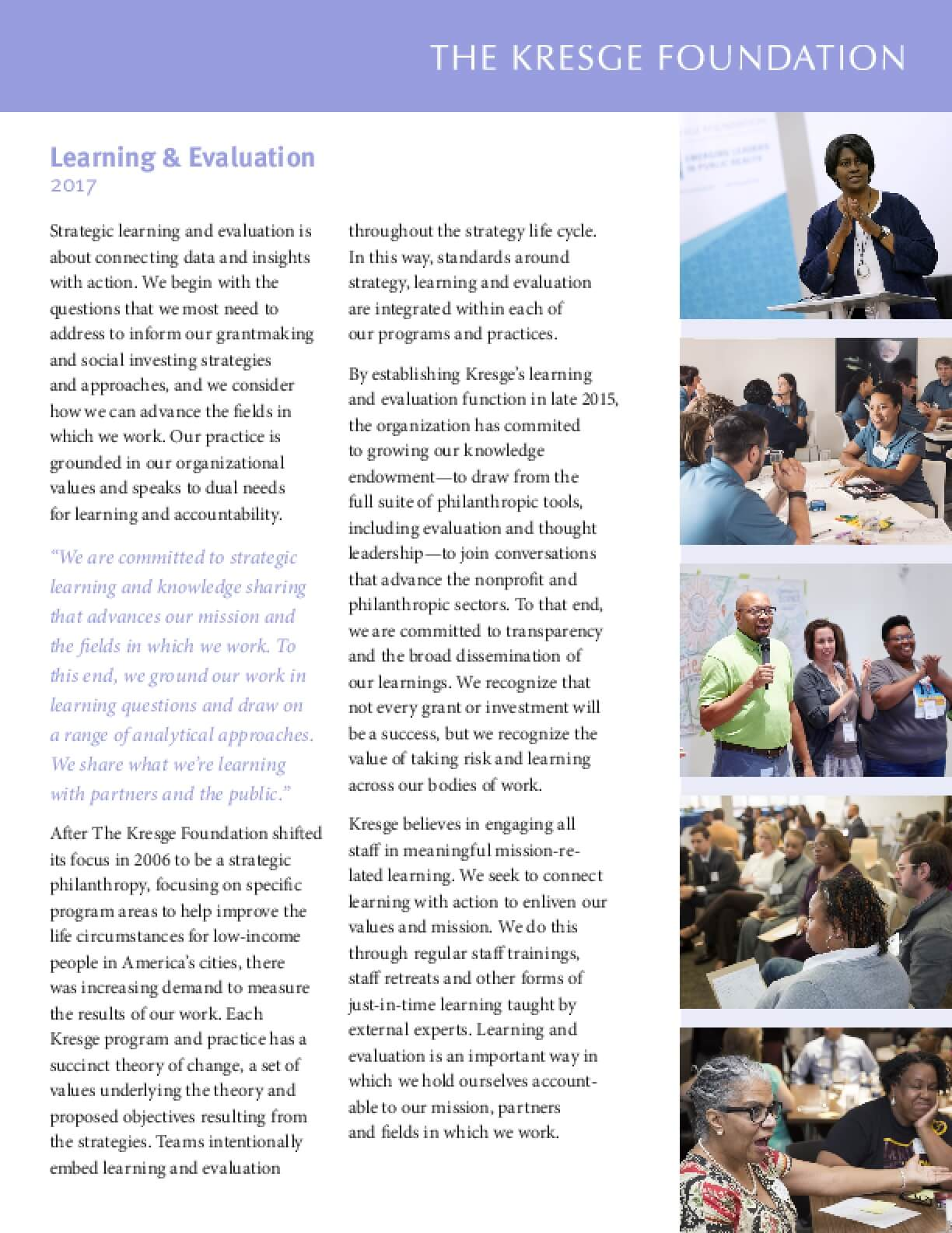 Brochure: Kresge Learning and Evaluation