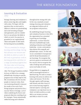 Brochure: Kresge Learning and Evaluation