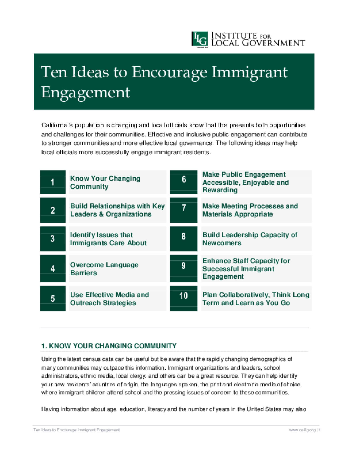 Ten Ideas to Encourage Immigrant Engagement