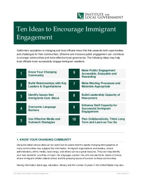 Ten Ideas to Encourage Immigrant Engagement