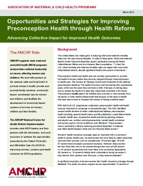 Opportunities and Strategies for Improving  Preconception Health through Health Reform