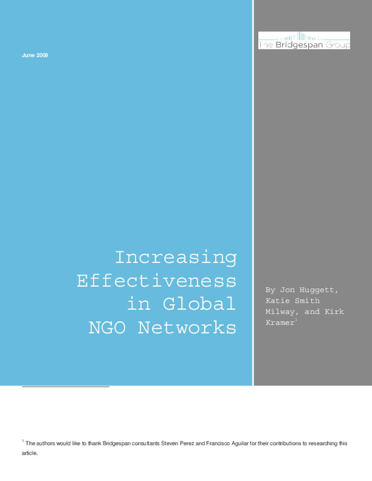 Increasing Effectiveness in Global NGO Networks