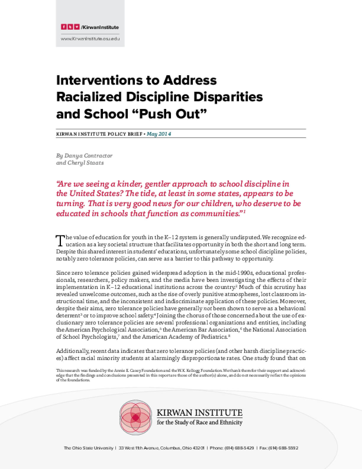 "Interventions to Address  Racialized Discipline Disparities and School ""Push Out"""