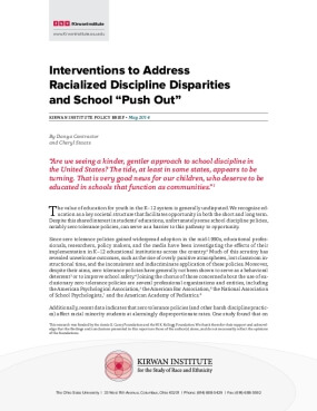 """Interventions to Address  Racialized Discipline Disparities and School """"Push Out"""""""