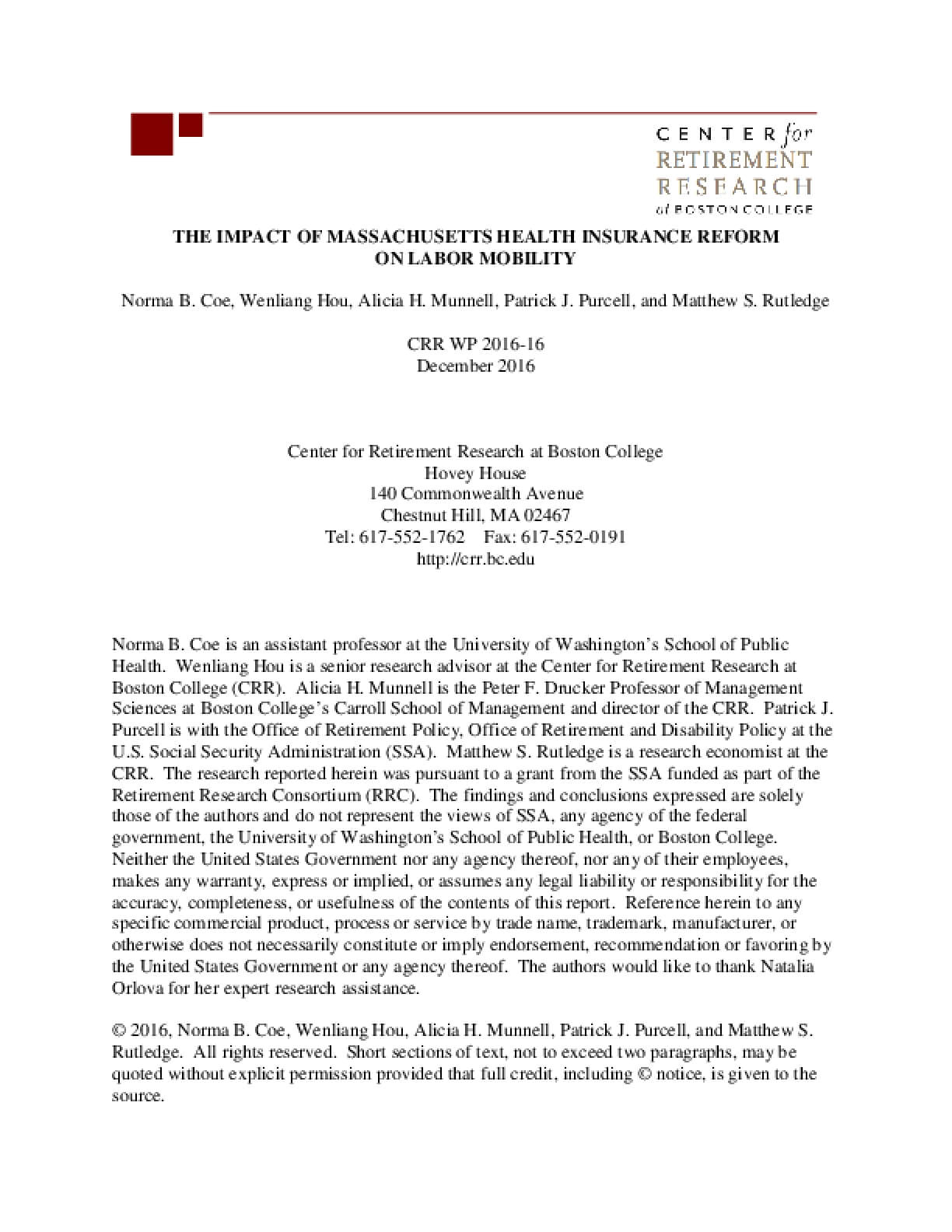 The Impact of Massachusetts Health Insurance Reform on Labor Mobility