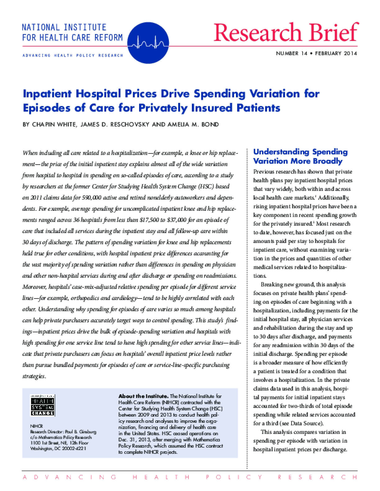 Inpatient Hospital Prices Drive Spending Variation for Episodes of Care for Privately Insured Patients