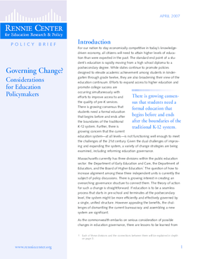 Governing Change? Considerations for Education Policymakers
