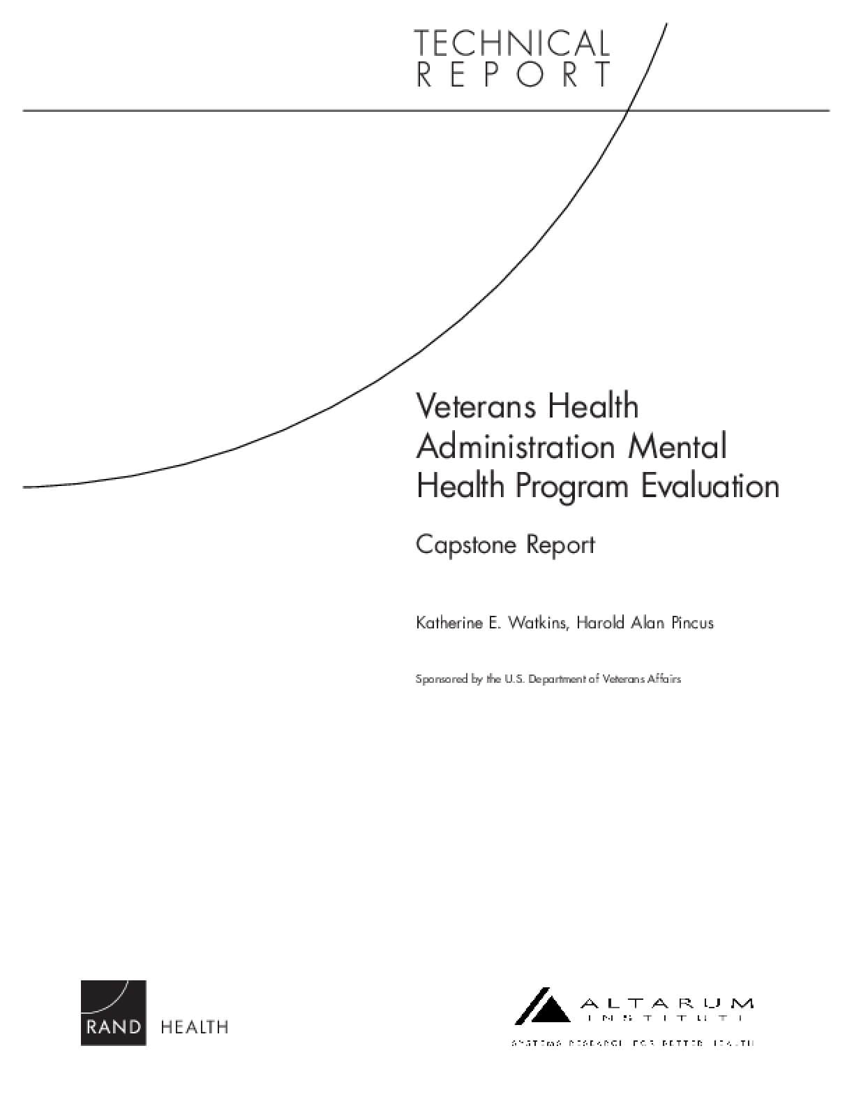 Veterans Health Administration Mental Health Program Evaluation Capstone Report