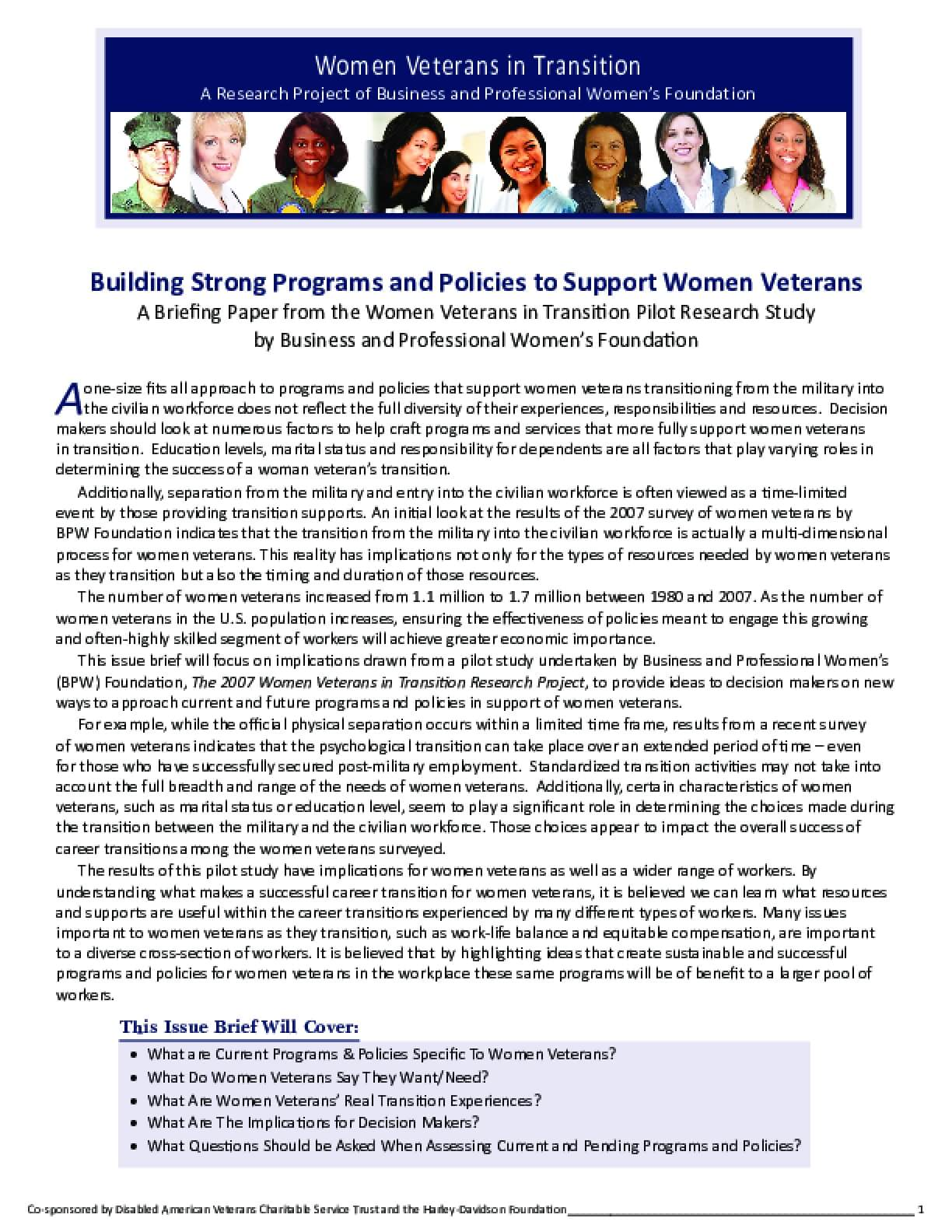 Building Strong Programs and Policies to Support Women Veterans