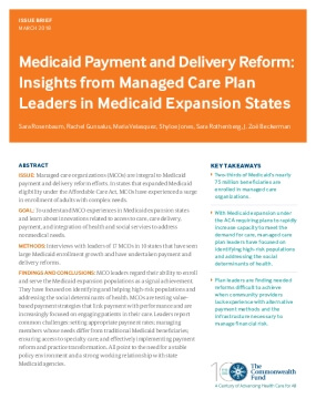 Medicaid Payment and Delivery Reform: Insights from Managed Care Plan  Leaders in Medicaid Expansion States