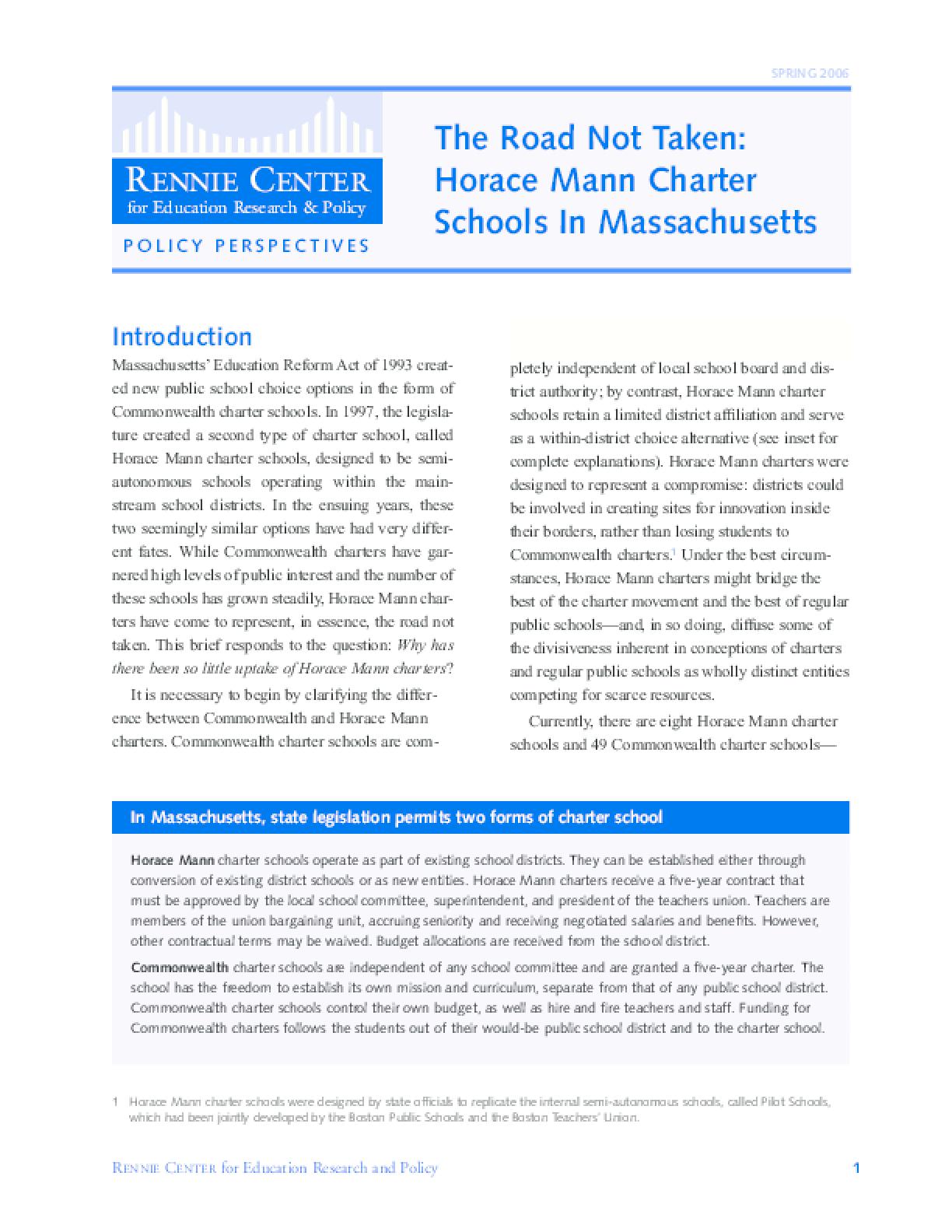 The Road Not Taken: Horace Mann Charter Schools in Massachusetts