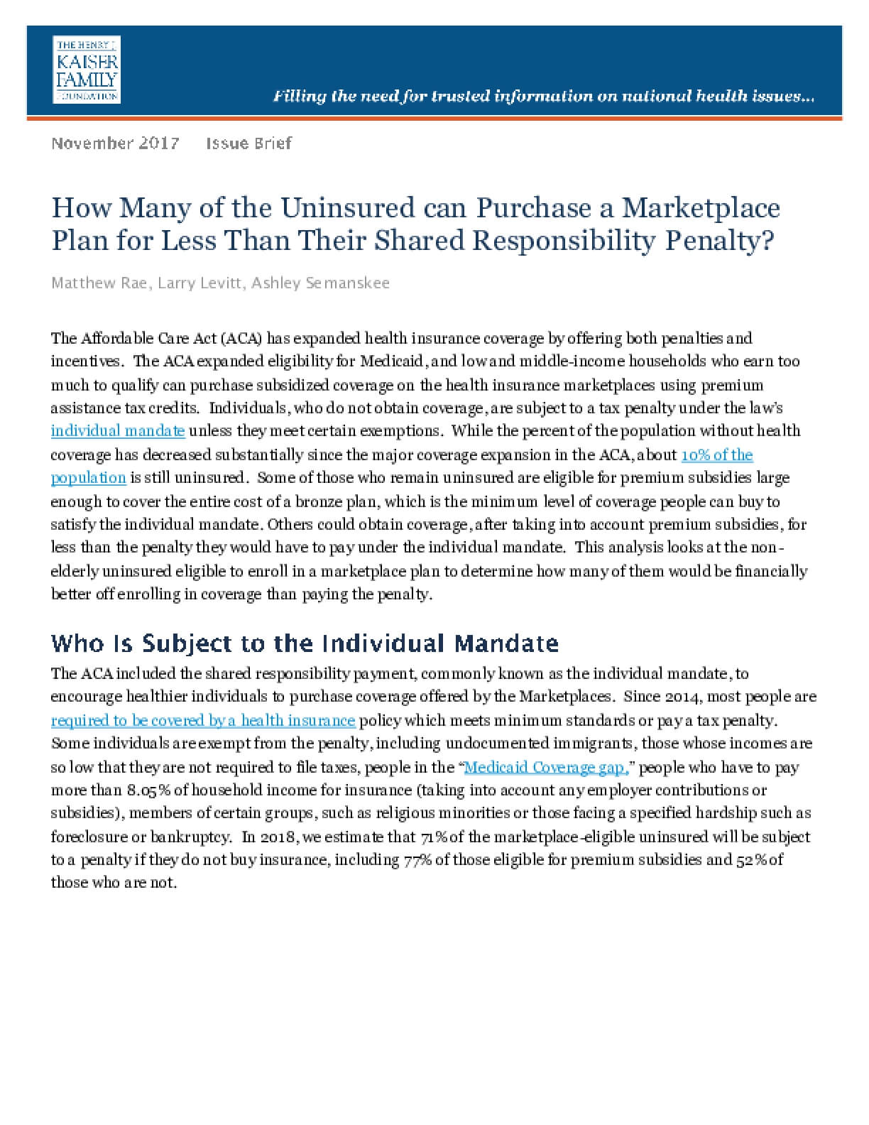 How Many of the Uninsured Can Purchase a Marketplace Plan for Less than Their Shared Responsibility Penalty?