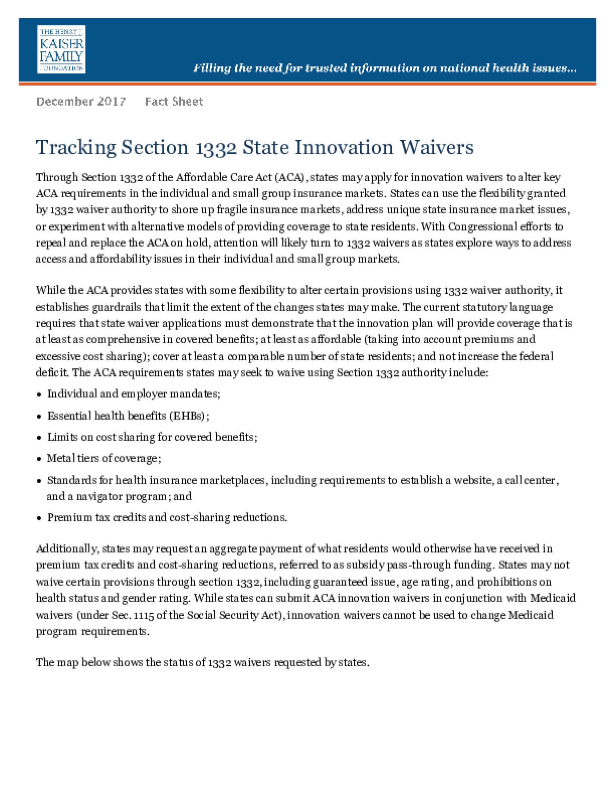 Tracking Section 1332 State Innovation Waivers