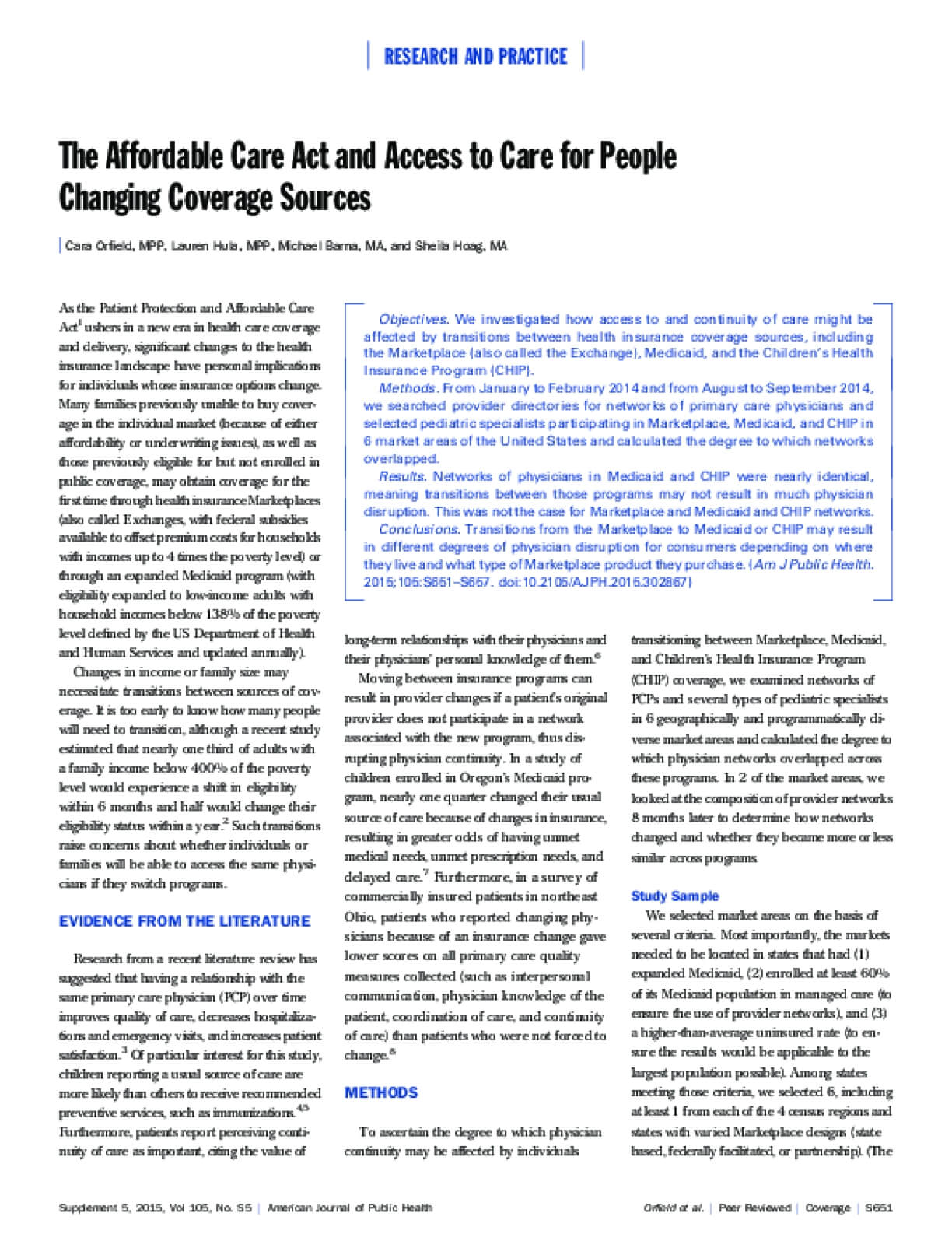 The Affordable Care Act and Access to Care for People Changing Coverage Sources