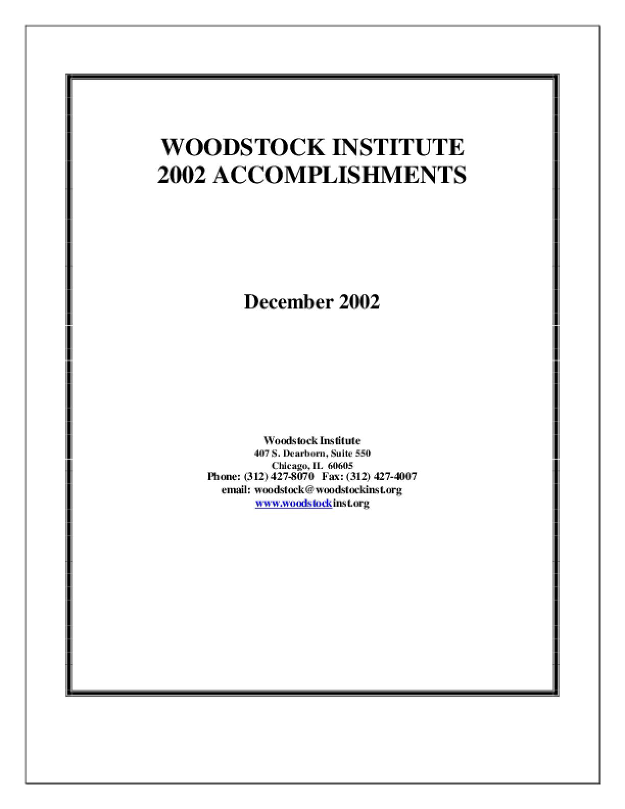 Woodstock Institute 2002 Annual Report