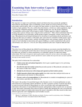 Examining State Intervention Capacity: Policy Brief