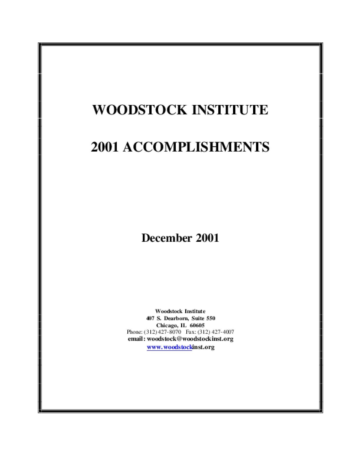 Woodstock Institute 2001 Annual Report