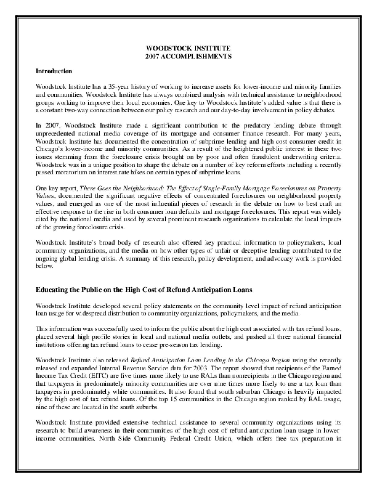 Woodstock Institute 2007 Annual Report