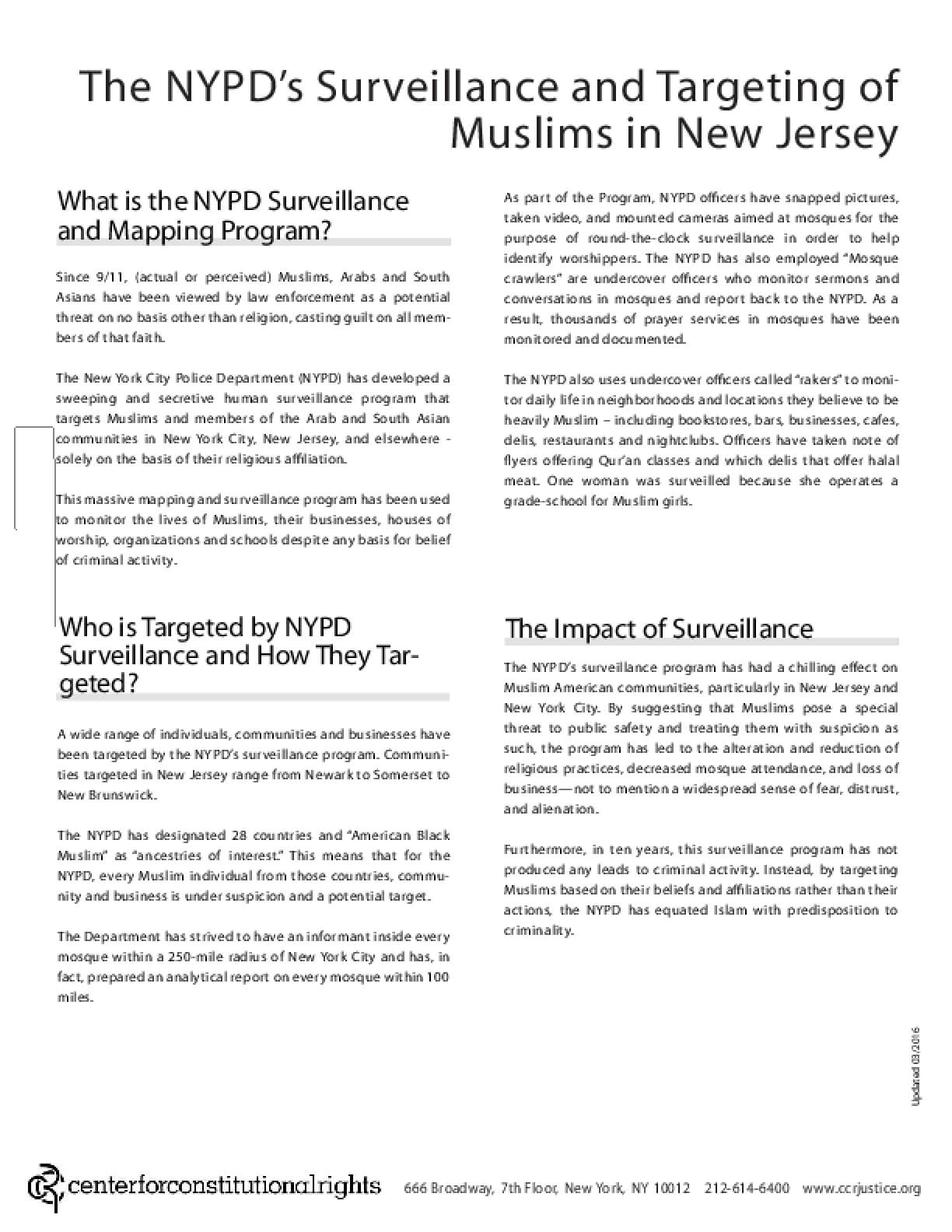 The NYPD's Surveillance and Targeting of Muslims in New Jersey