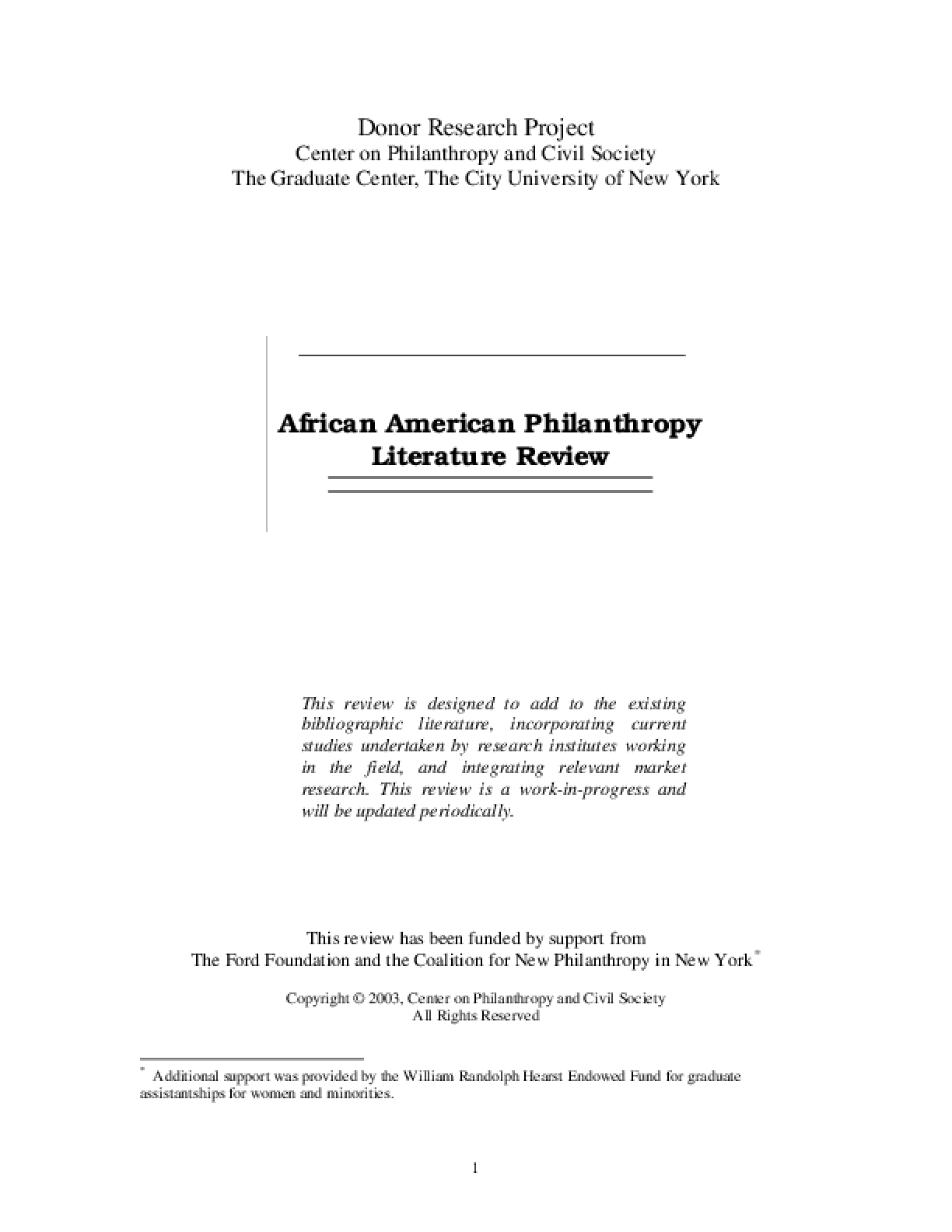 African American Philanthropy Literature Review