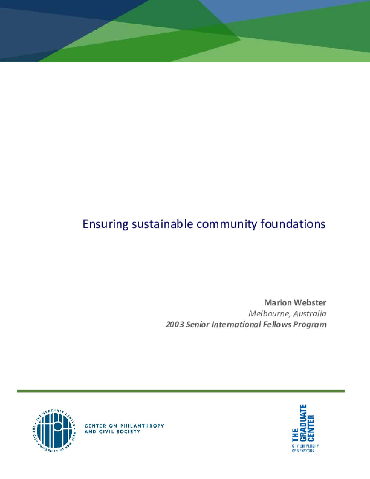 Ensuring Sustainable Community Foundations