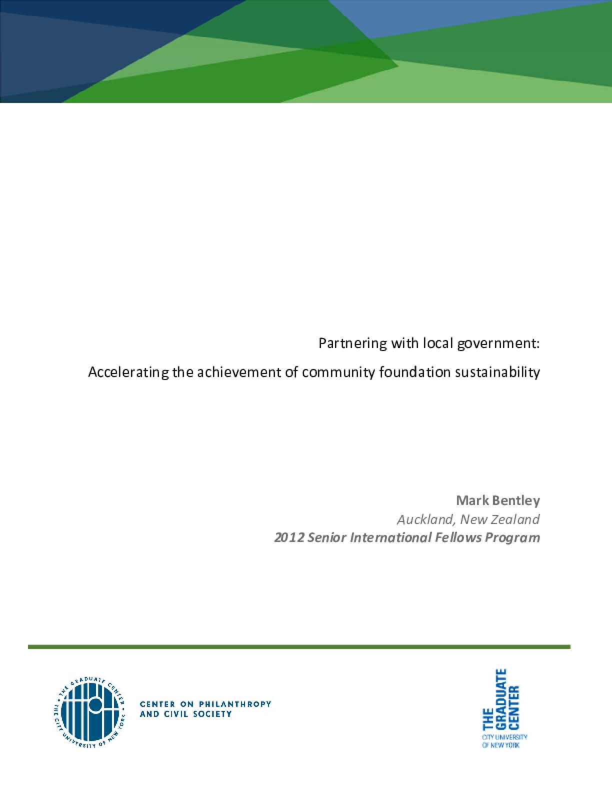 Partnering with local government: Accelerating the achievement of community foundation sustainability