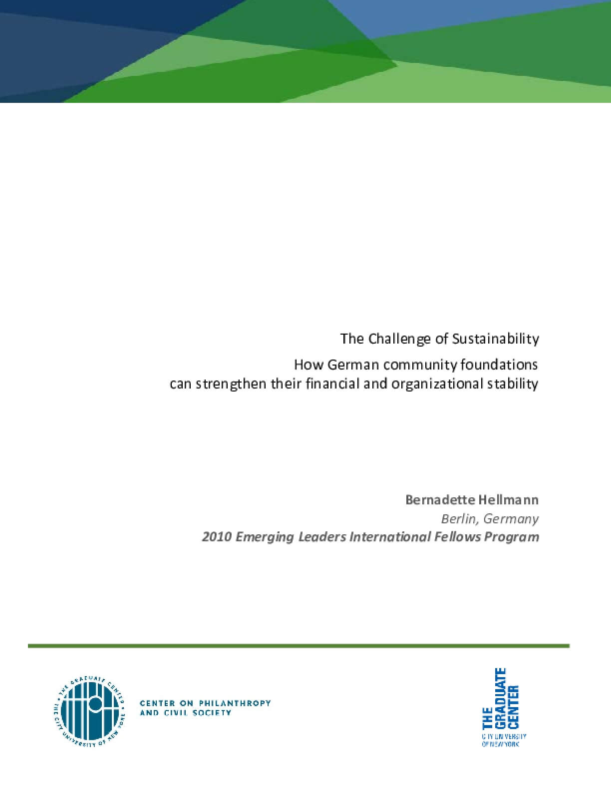 The challenge of sustainability: How German community foundations can strengthen their financial and organizational stability