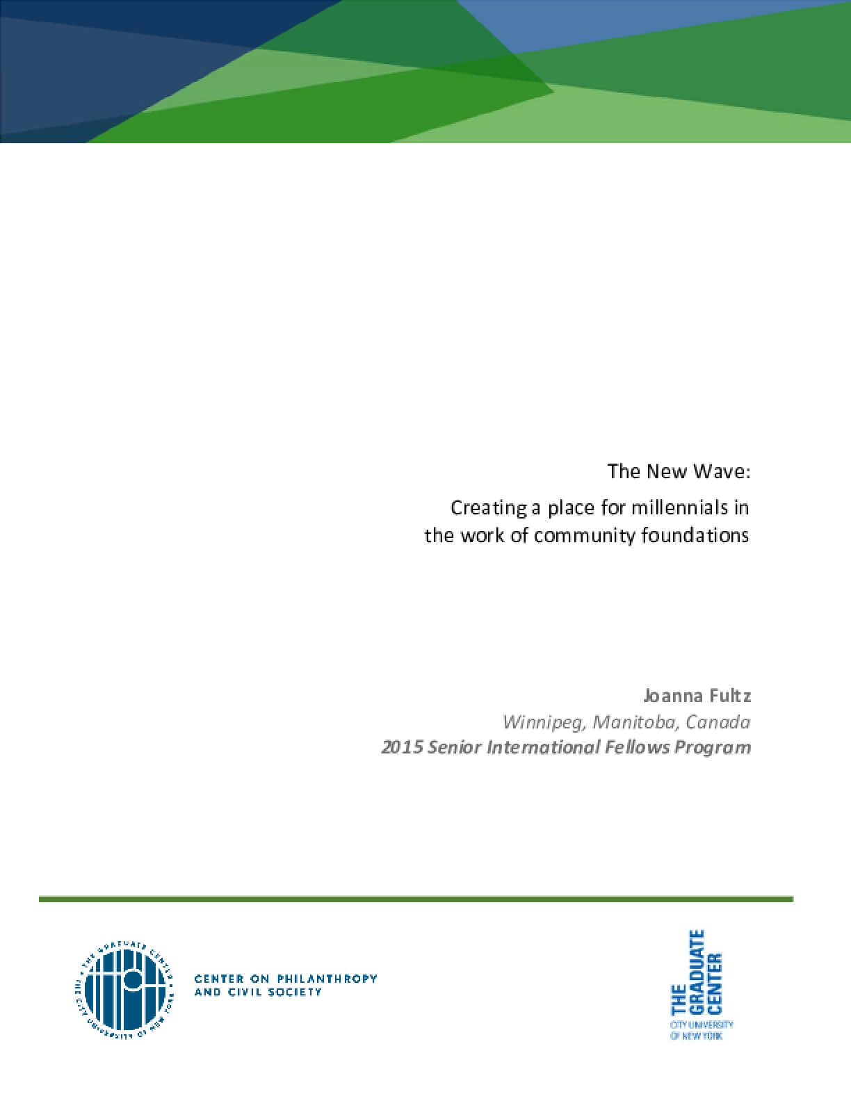The New Wave: Creating a place for millennials in the work of community foundations