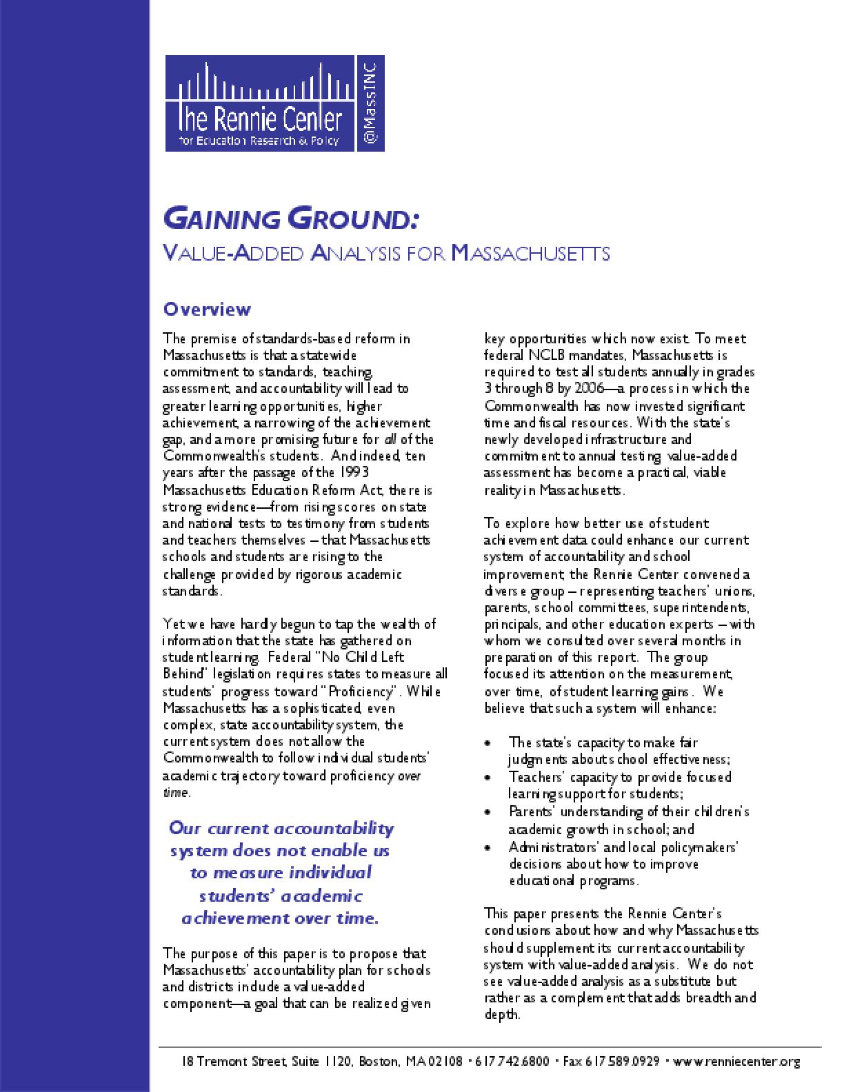 Gaining Ground: Value-Added Analysis for Massachusetts