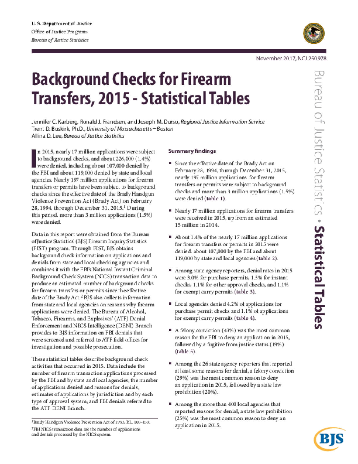 Background Checks for Firearm  Transfers, 2015 - Statistical Tables
