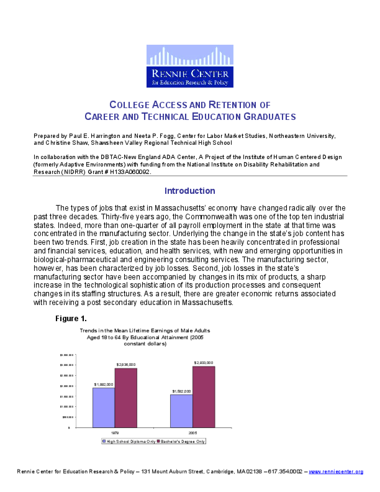 White Paper: College Access and Retention of Career and Technical Education Graduates