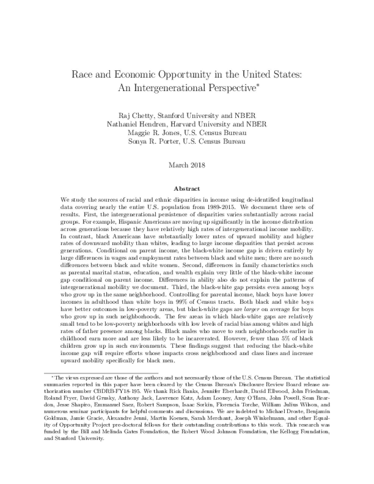 Race and Economic Opportunity in the United States: An Intergenerational Perspective