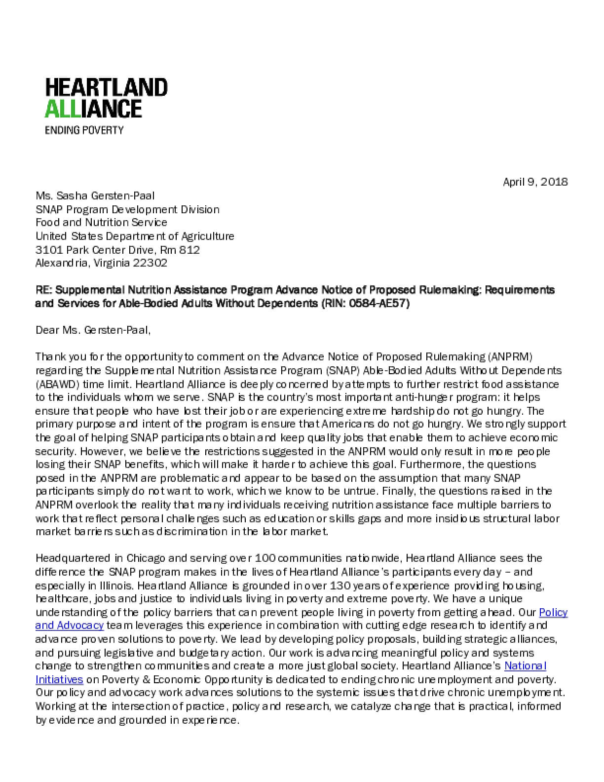 Requirements & Services for SNAP ABAWDs: Heartland Alliance Comments on USDA Advance Notice of Proposed Rulemaking