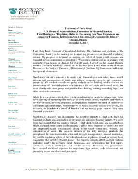 Testimony of Dory Rand before the U.S. House of Representatives, Committee on Financial Services in support of the implementation of Dodd-Frank Act.