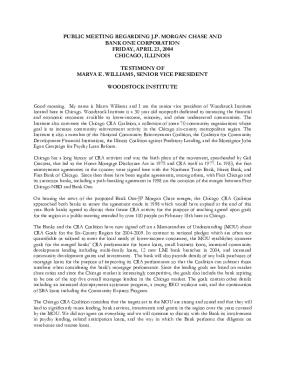Testimony of Marva Williams to the Federal Reserve Bank of Chicago on the Bank One/Chase Merger