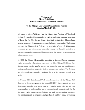 Testimony to the Chicago City Council on The Merger of Bank One and JP Morgan Chase