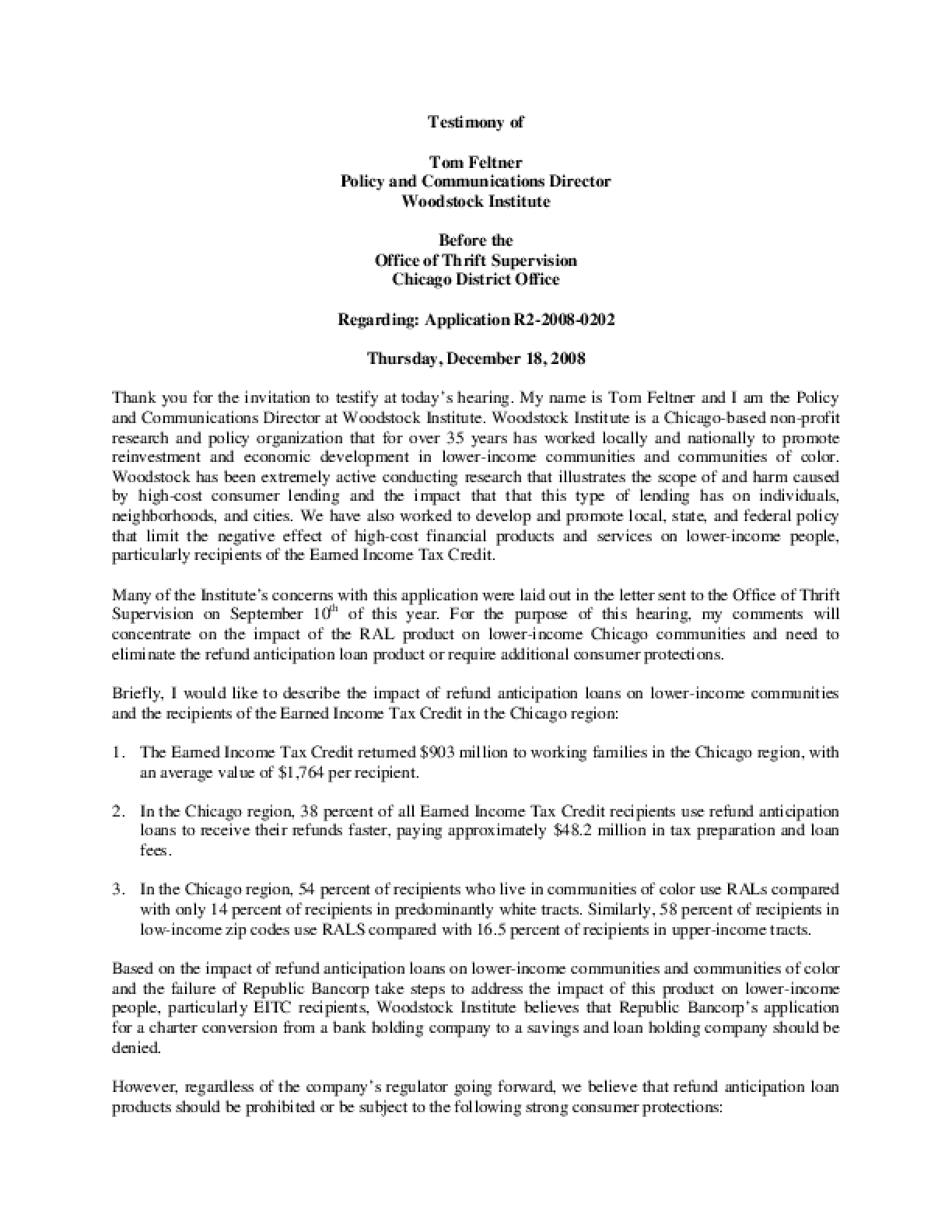 Testimony of Tom Feltner before the Office of Thrift Supervision on the tax lending activity of Republic Bank and Trust