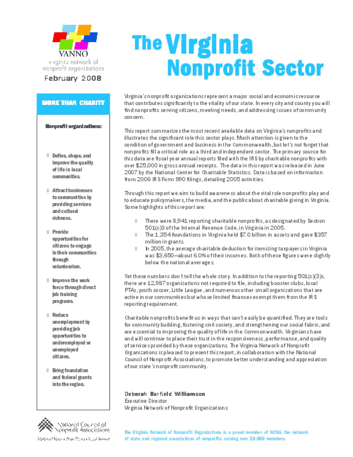 The Virginia Nonprofit Sector