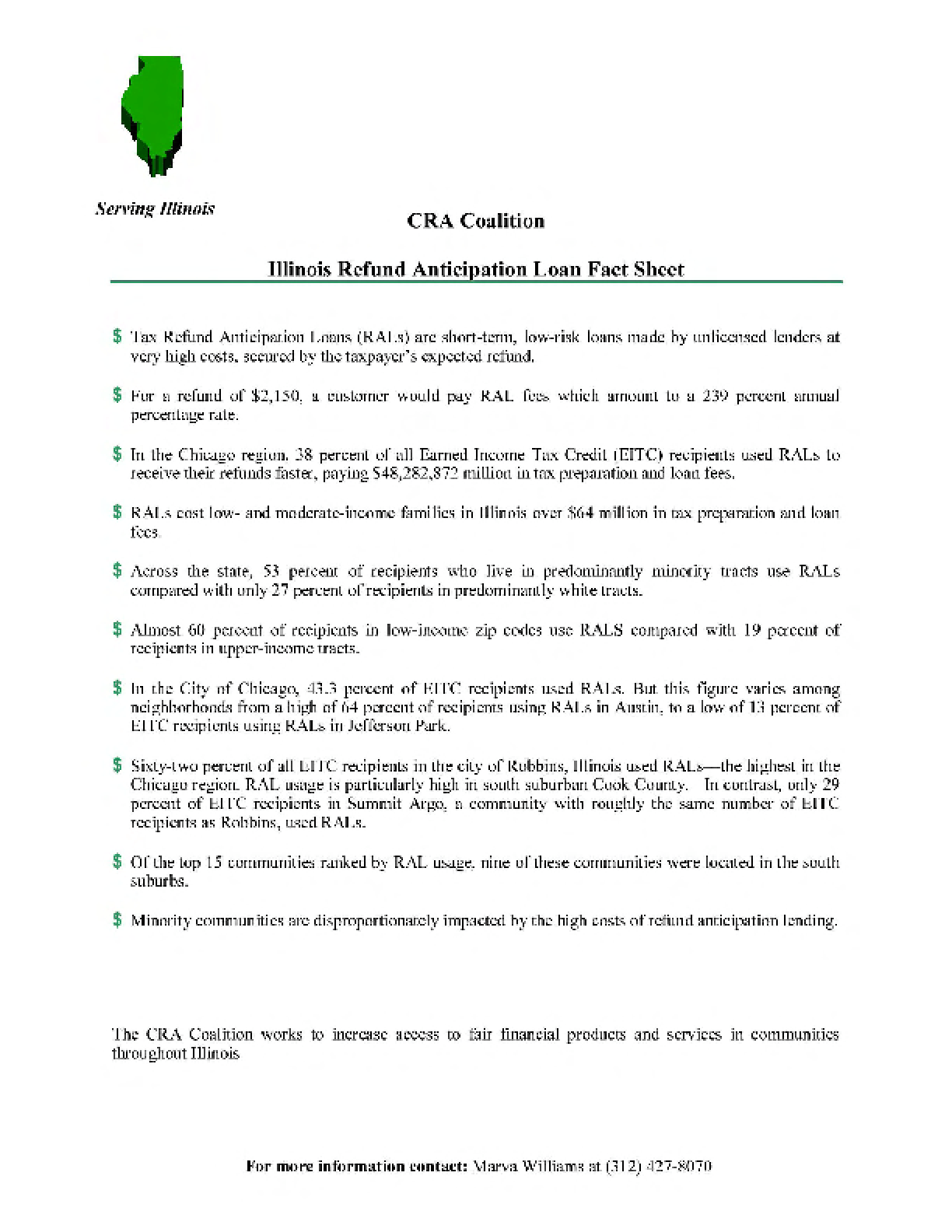 CRA Coalition Illinois Refund Anticipation Loan Fact Sheet