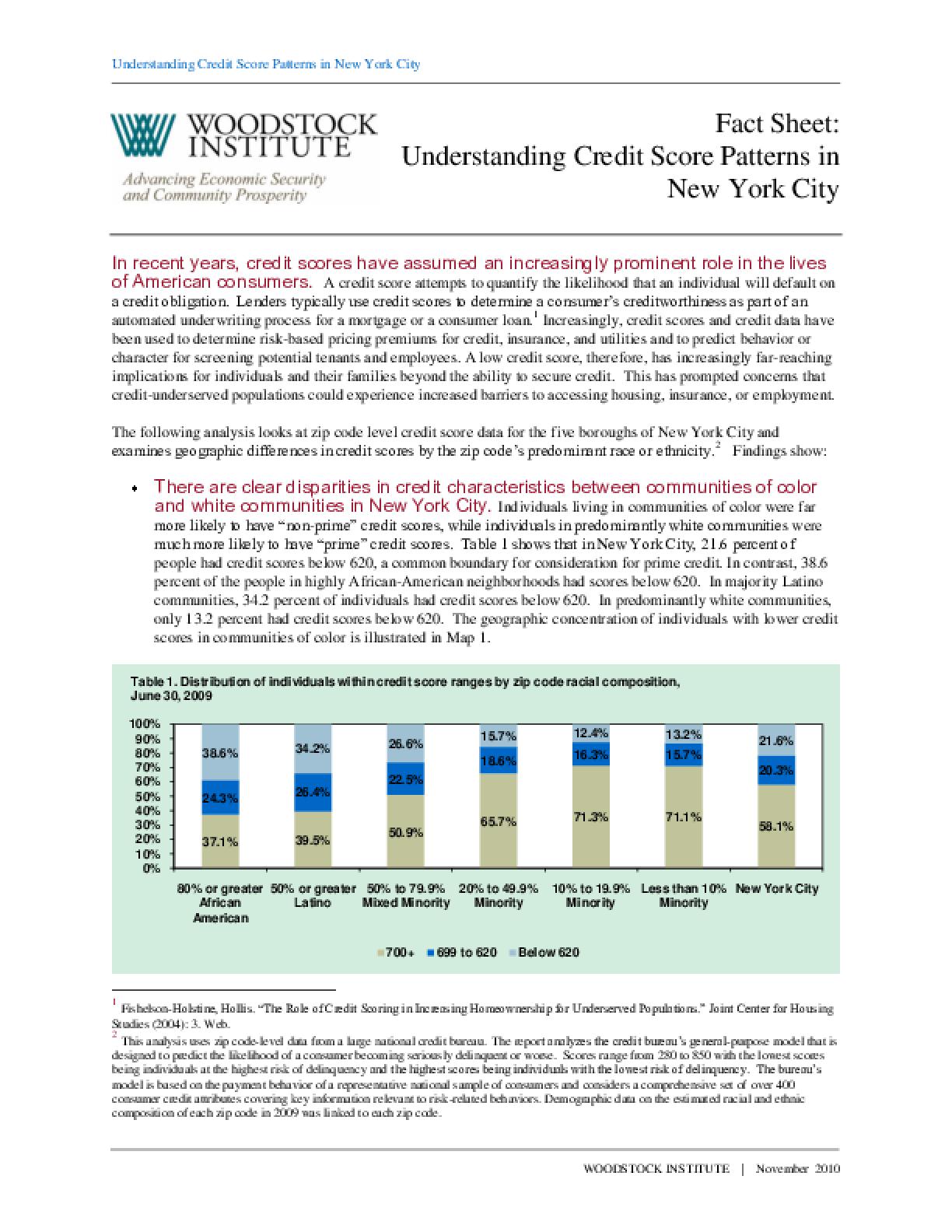 Fact Sheet: Understanding Credit Score Patterns in New York City
