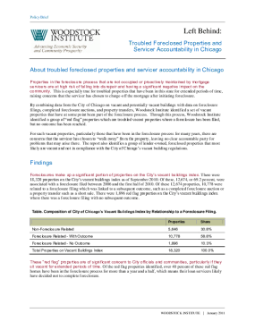 Policy Brief: Troubled Foreclosed Properties and Servicer Accountability in Chicago