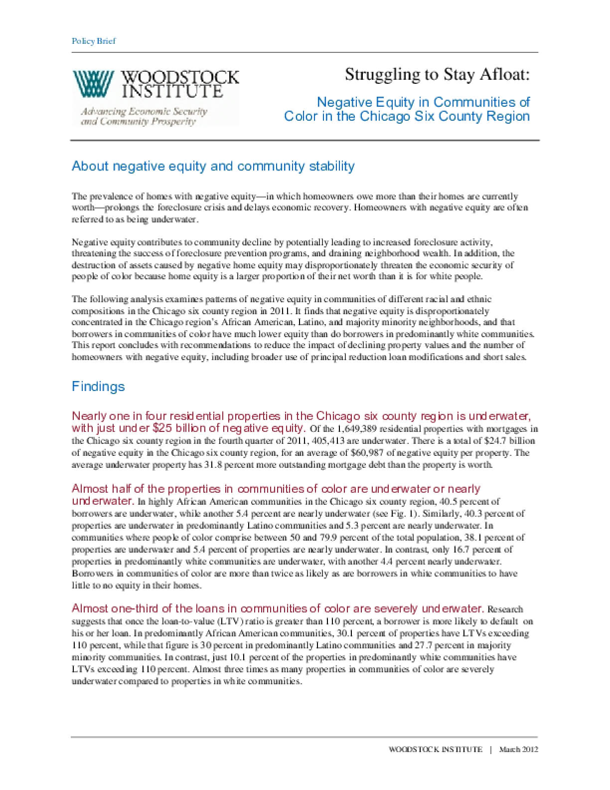 Fact Sheet:  Negative Equity in Communities of Color in the Chicago Six County Region
