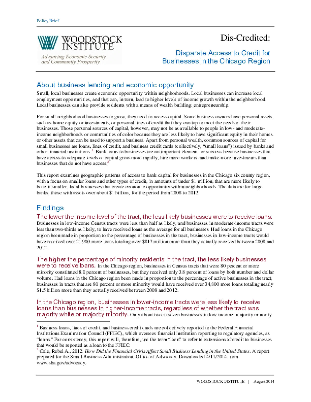 Policy Brief: Disparate Access to Credit for Businesses in the Chicago Region