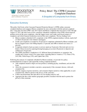 Policy Brief: The CFPB Consumer Complaint Database: A Snapshot of Complaints from Illinois
