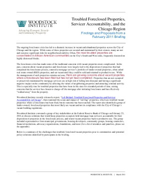 White Paper on Troubled Foreclosed Properties, Servicer Accountability, and the Chicago Region