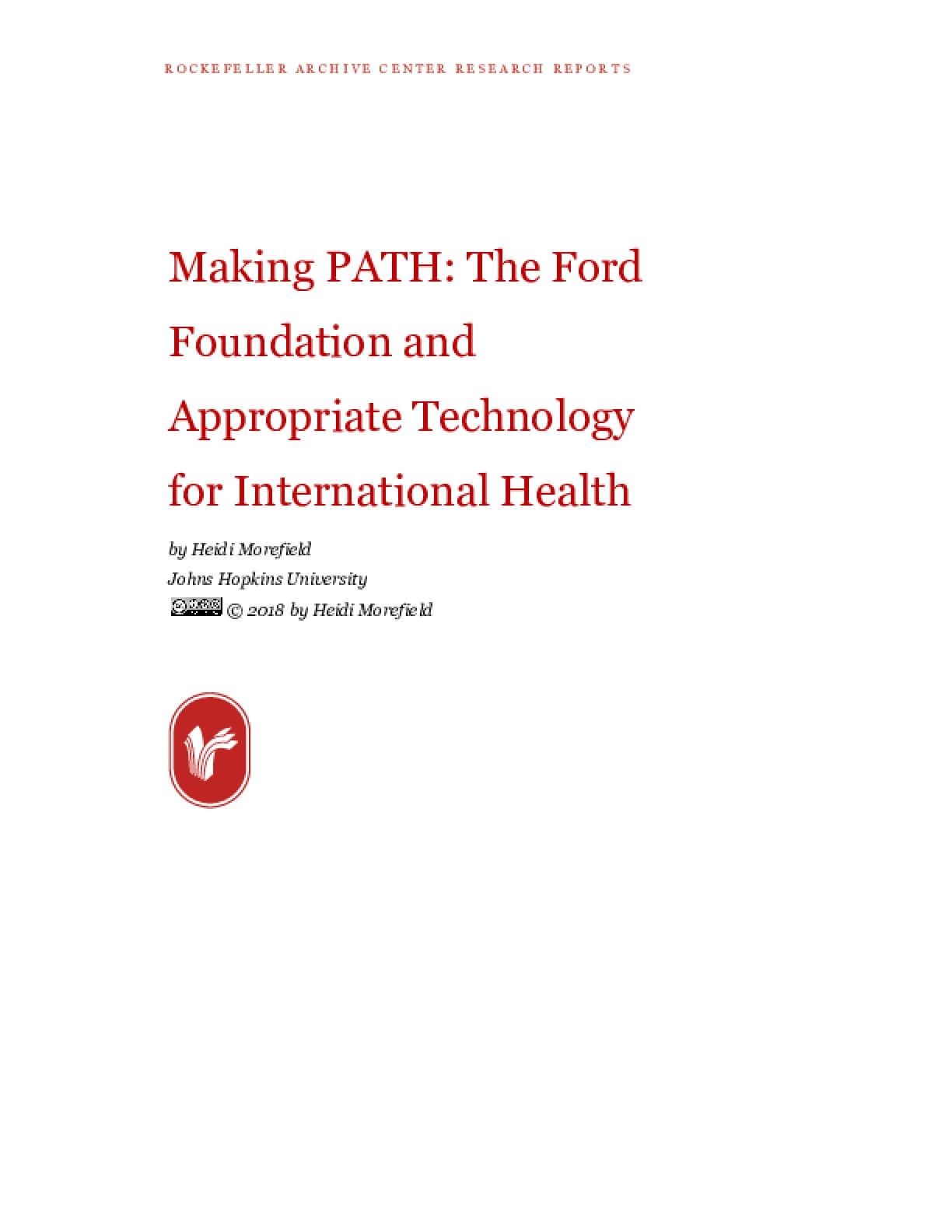 Making PATH: The Ford Foundation and Appropriate Technology for International Health