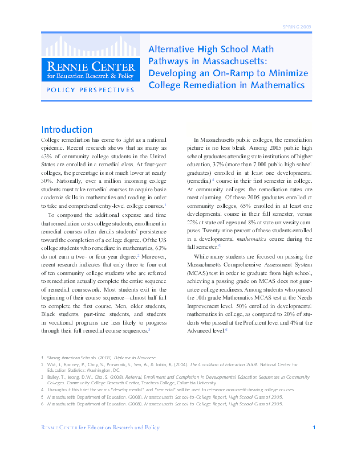 Alternative High School Math Pathways in Massachusetts: Developing an On-Ramp to Minimize College Remediation in Mathematics