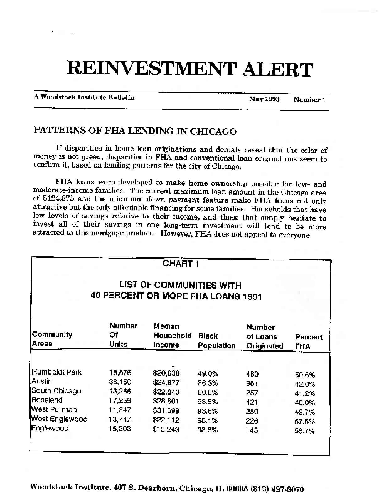 Reinvestment Alert #1: Patterns of FHA Lending in Chicago