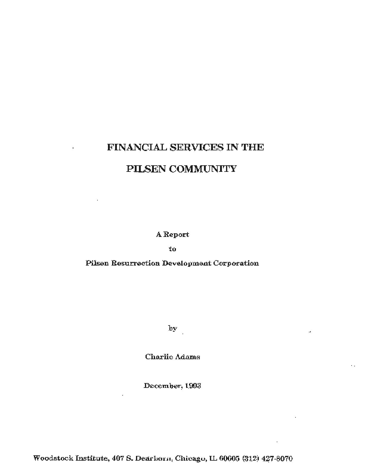 Financial Services in the Pilsen Community