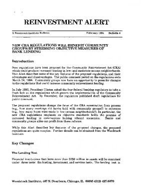 Reinvestment Alert #4: New CRA Regs will Benefit Community Groups by Stressing Objective Measures of Bank Lending